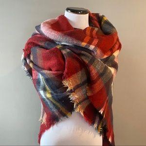 ZARA blanket scarf burgundy plaid